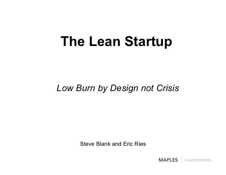 Lean Startups Steve Blank Eric Ries