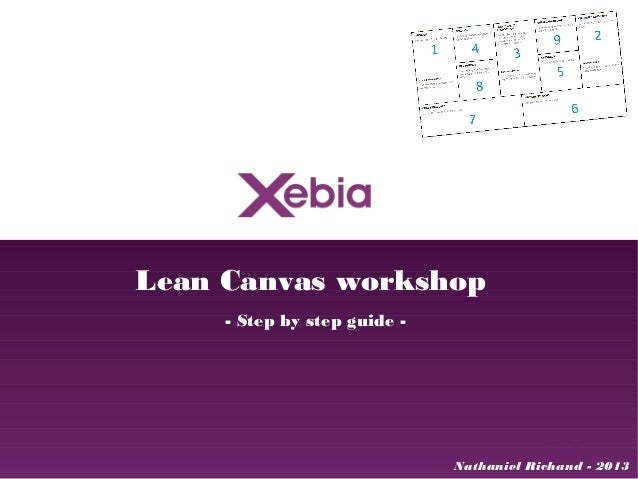 Lean Canvas workshop     - Step by step guide -                              Nathaniel Richand - 2013