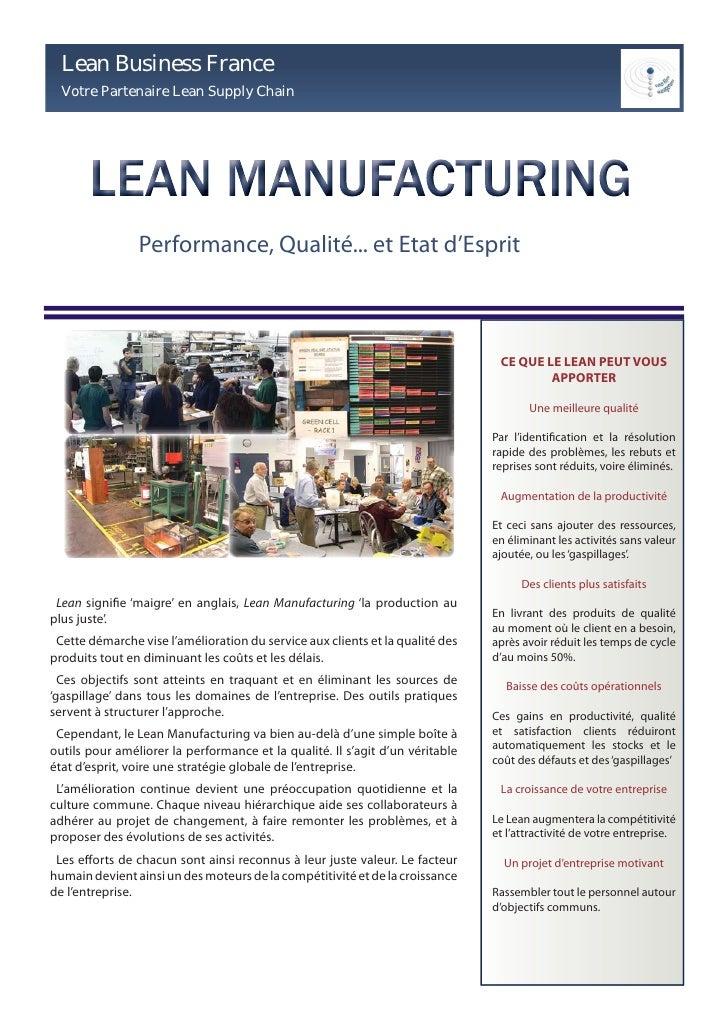Lean Business France   Votre Partenaire Lean Supply Chain                     Performance, Qualité... et Etat d'Esprit    ...