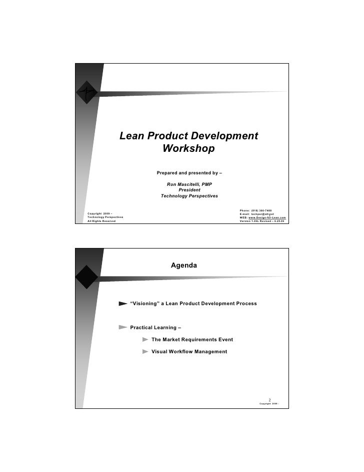 Lean Product Development                             Workshop                                      Prepared and presented ...