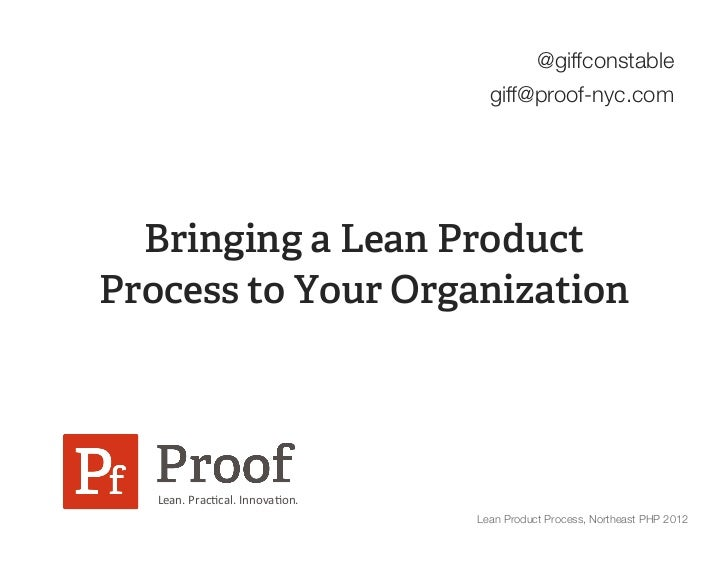 Moving to Lean Product Process