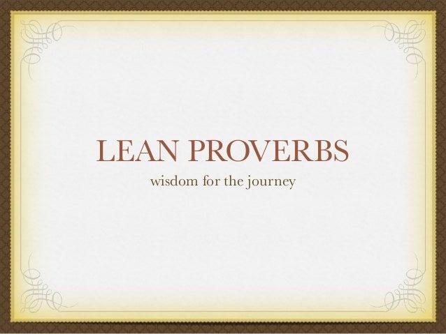 Lean Proverbs
