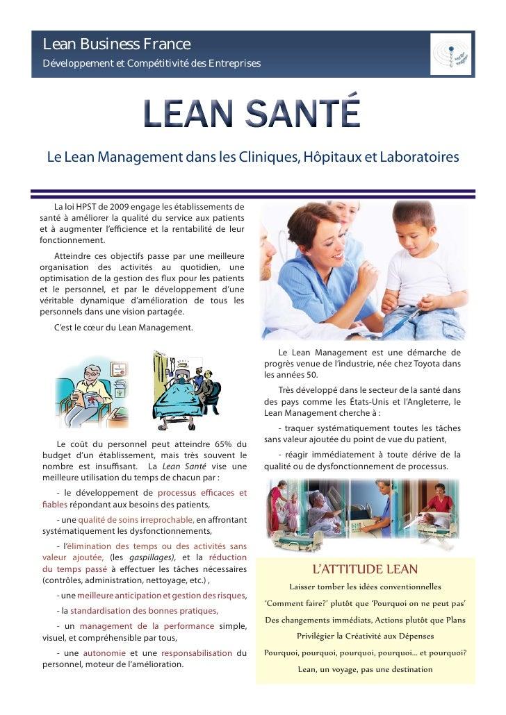 Lean Business France Développement et Compétitivité des Entreprises      Le Lean Management dans les Cliniques, Hôpitaux e...