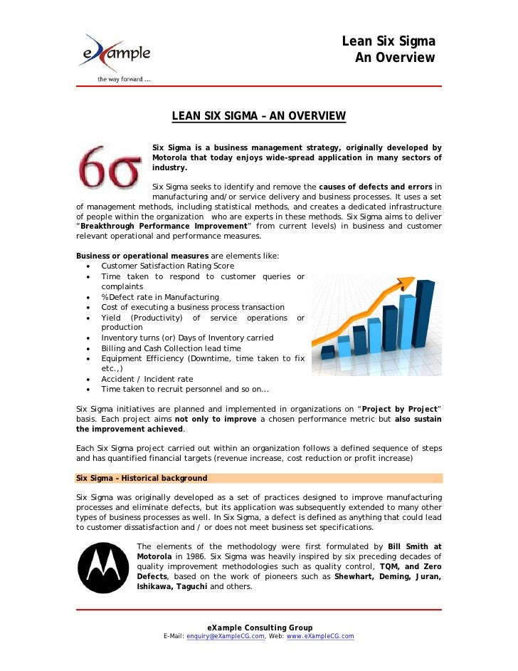 Lean Six Sigma                                                                           An Overview                      ...