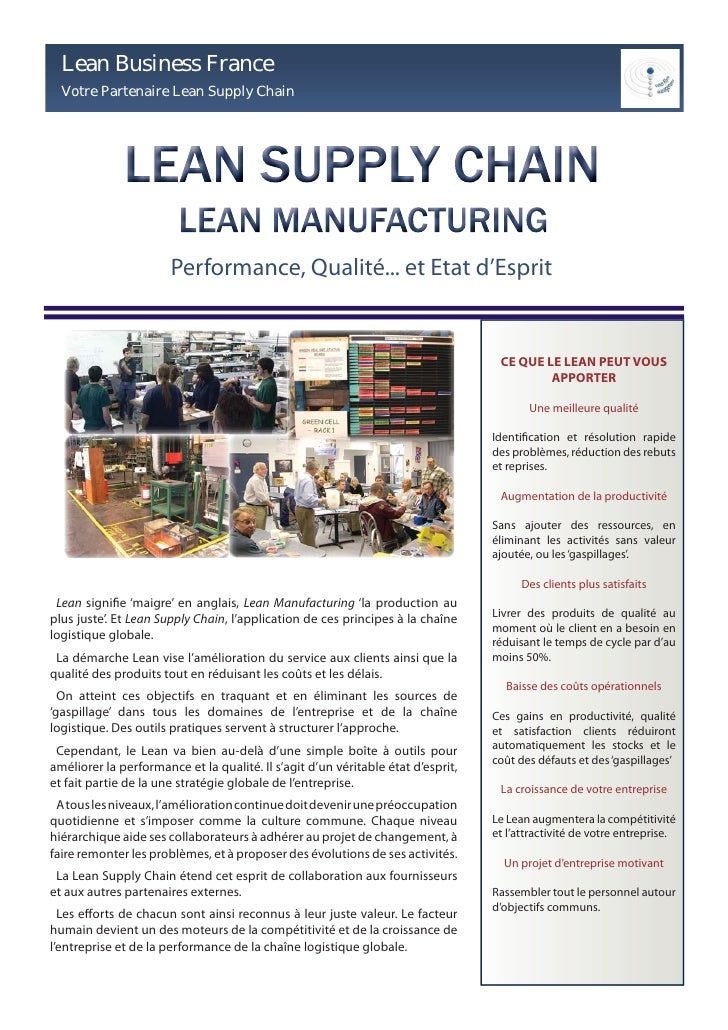 Lean Business France   Votre Partenaire Lean Supply Chain                            Performance, Qualité... et Etat d'Esp...