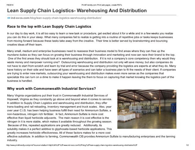 Lean supply chain logistics  warehousing and distribution