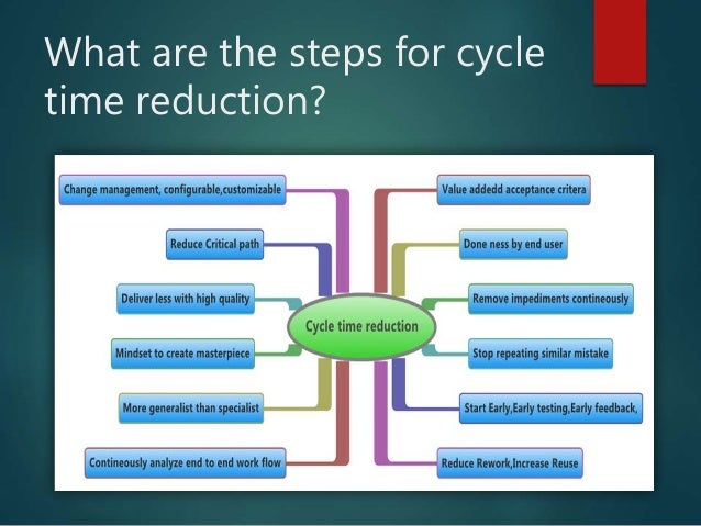 cycle time reduction Before attempting line balancing, focus on cycle time reduction bring the cycle time down so you don't just move a poor process from one location to another never trust an even number for a cycle time on a standard work combination sheet.