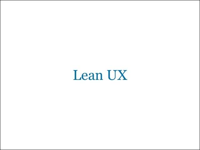 Lean UX -  a suggestion