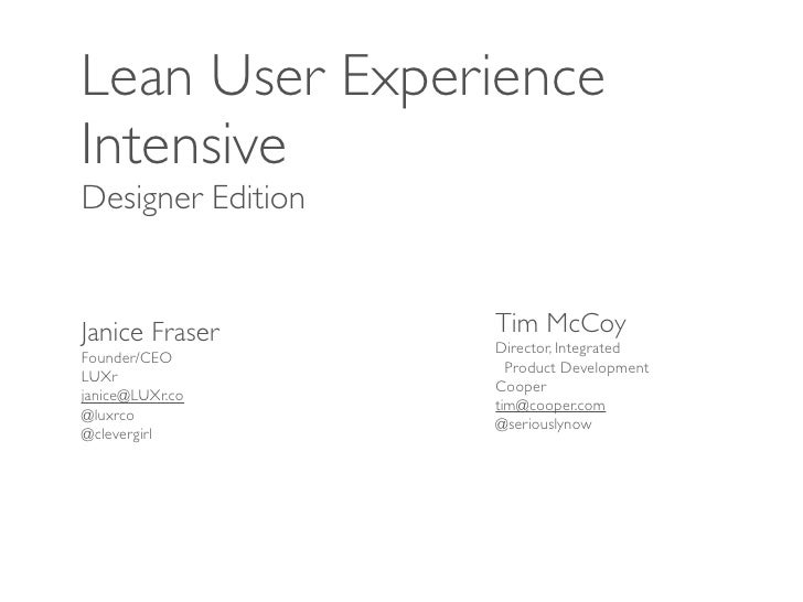 LUXi lean ux intensive, designer edition