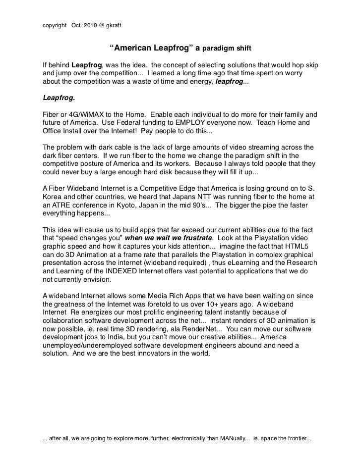 "copyright Oct. 2010 @ gkraft                           ""American Leapfrog"" a paradigm shiftIf behind Leapfrog, was the ide..."