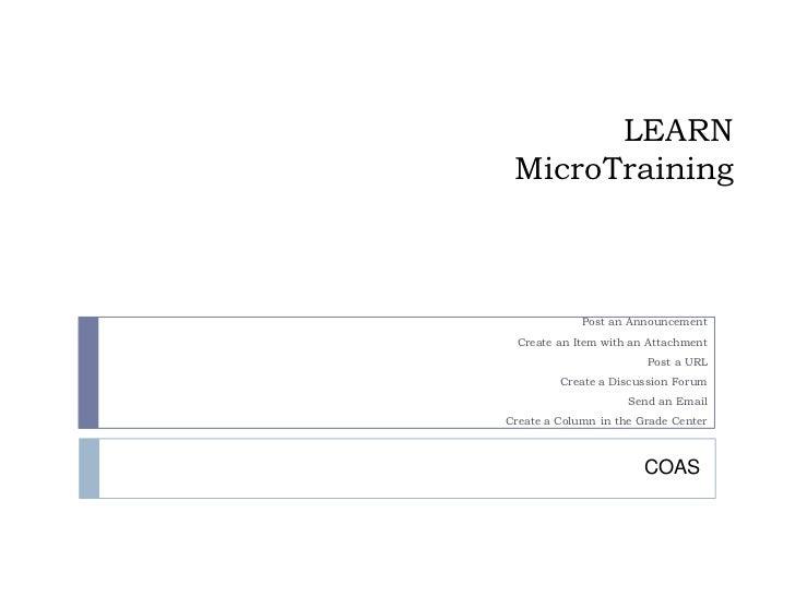 Learn   micro training for coas