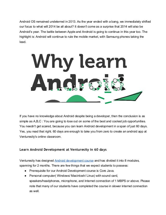 Learn android development in just 60 days