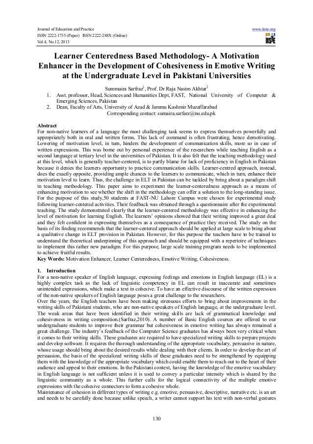 Learner centeredness based methodology  a motivation enhancer in the development of cohesiveness in emotive writing at the undergraduate level in pakistani universities