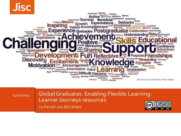 Word cloud created by HEA Wales  14/02/2014  Global Graduates: Enabling Flexible Learning: Learner Journeys resources Lis ...