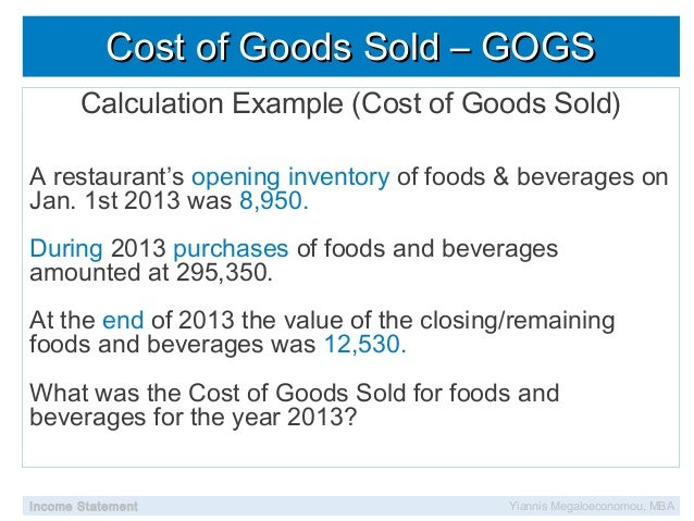 Cost of Goods Sold Inc...