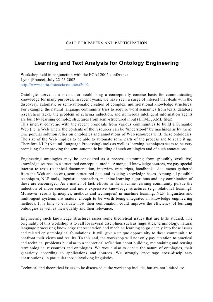 Learning and Text Analysis for Ontology Engineering
