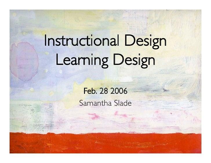 Learning Design/Instructional Design