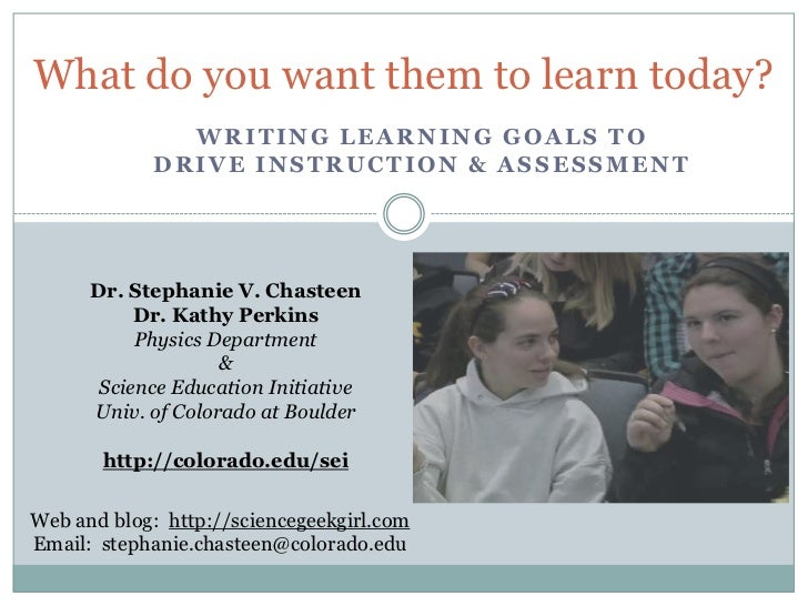 What do you want them to learn today?               WRITING LEARNING GOALS TO             DRIVE INSTRUCTION & ASSESSMENT  ...