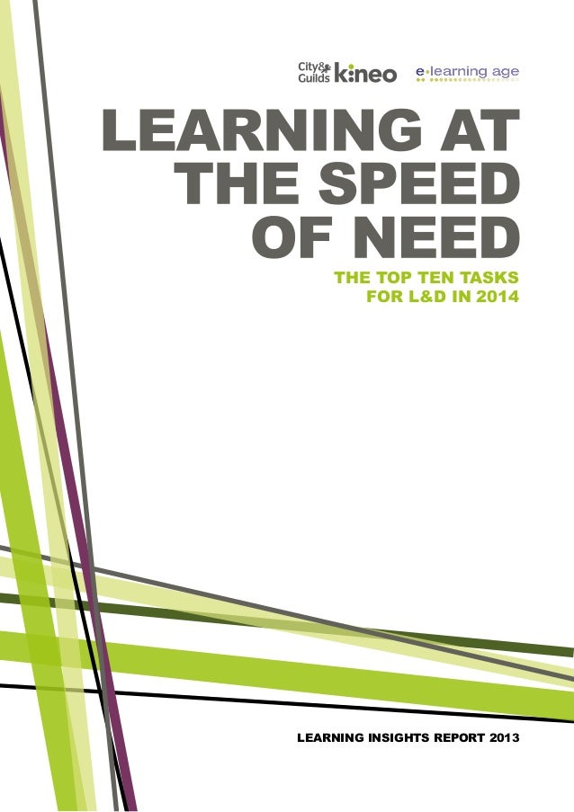 the top ten tasks for L&D in 2014  learning insights report 2013