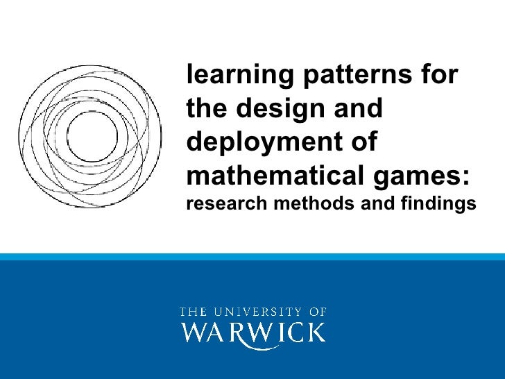 learning patterns for the design and deployment of mathematical games:  research methods and findings