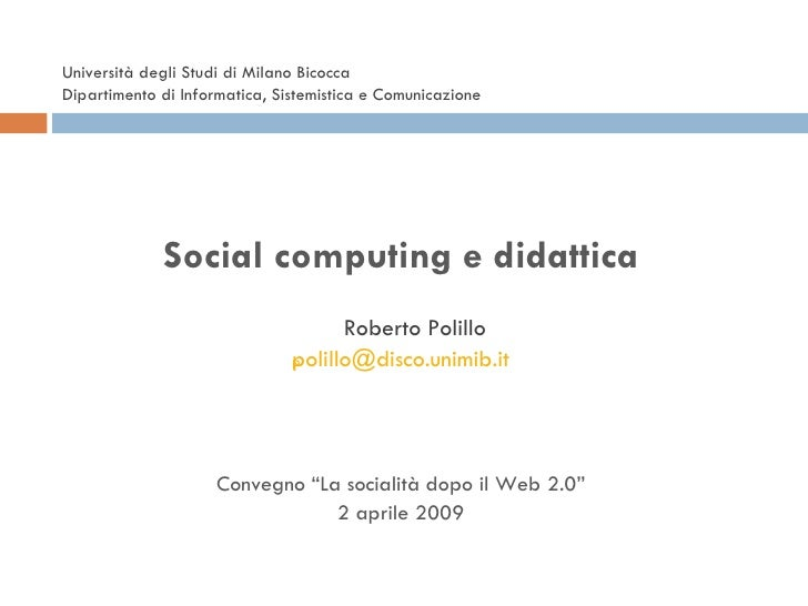 Social Computing e didattica