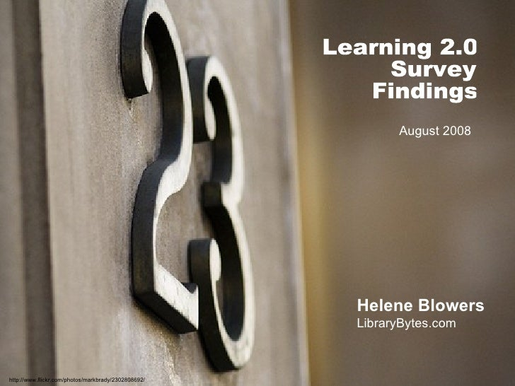 Learning 2.0: 23 Things Survey Findings