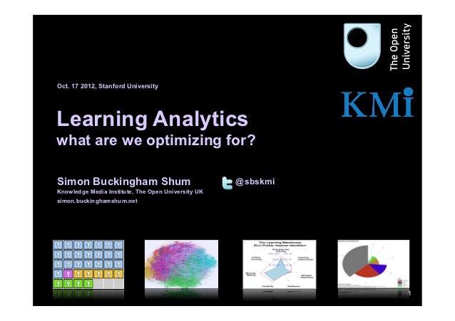 Oct. 17 2012, Stanford University     Learning Analytics     what are we optimizing for?     Simon Buckingham Shum        ...