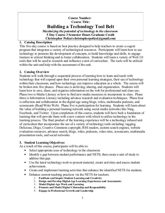 Learning and teaching with tech 5 day syllabus