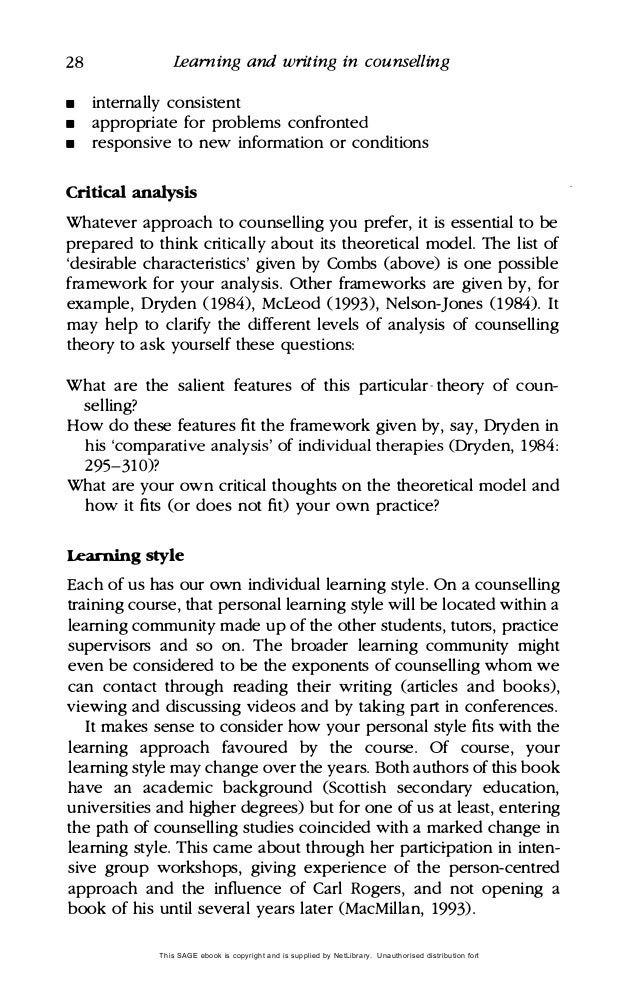 an analysis of the efficacy of psychodynamic and cognitive behavioural counselling approaches Model—the psychodynamic model—of abnormal behavior (see chapter 2)   were free association, dream analysis, and analysis of the transfer-  cognitive– behavioral techniques in their practice (holloway, 2003 practicenet, 2003)   the special efficacy of behavior therapy derives from the learning-based  techniques.