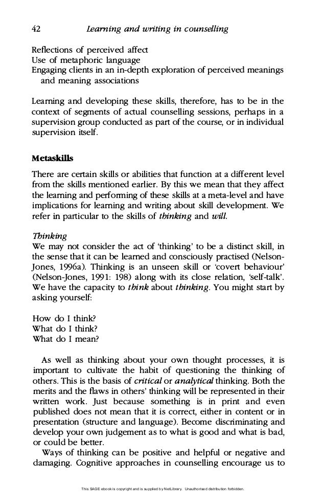 counselling essay examples Online on-demand exam: level 2 award in introduction to counselling in addition to the assessment packs detailed in the qualification specification, for this qualification your learners must complete and pass an online multiple choice examination which is available on-demand the assessment is made up of eighteen.