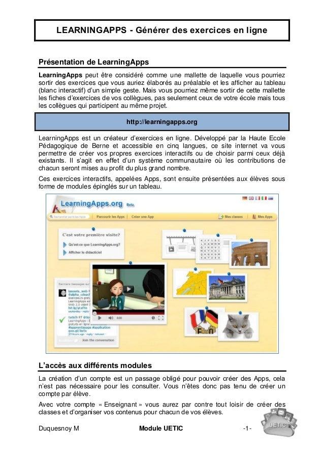 LEARNINGAPPS - Générer des exercices en lignePrésentation de LearningAppsLearningApps peut être considéré comme une mallet...