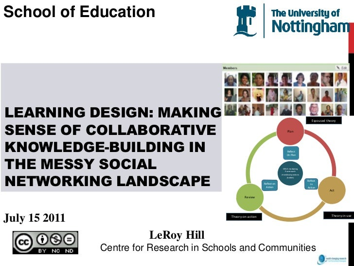 School of Education<br />Learning design: making sense of collaborative knowledge-building in the messy social networking ...