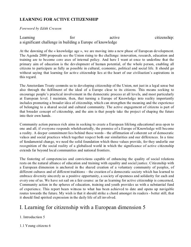 LEARNING FOR ACTIVE CITIZENSHIPForeword by Edith CressonLearning                       for                   active       ...