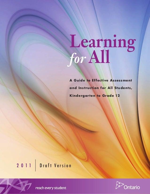 Learning for All A Guid e t o Ef f e c t ive A ssessment and Inst ruc t ion f or All St ud ents, Kind er g ar t en t o Gr ...