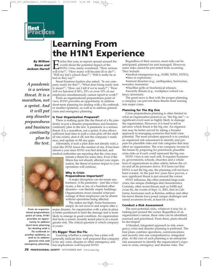 Learning From The H1 N1 Experience   Professional Safety Magazine