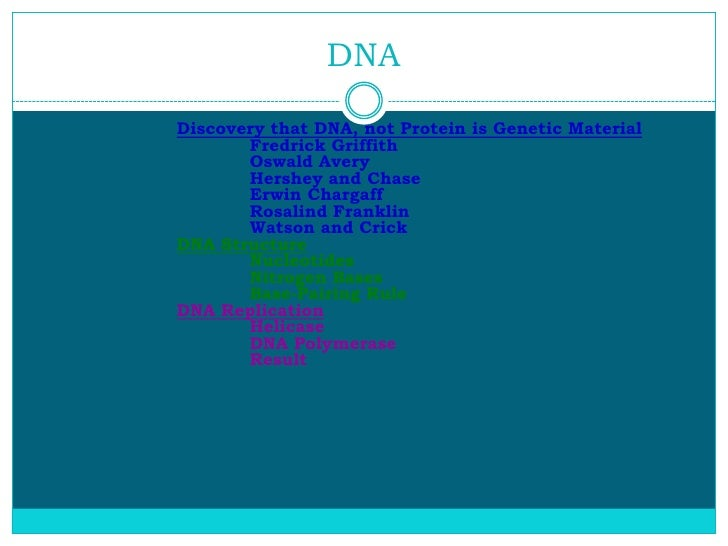 DNADiscovery that DNA, not Protein is Genetic Material       Fredrick Griffith       Oswald Avery       Hershey and Chase ...