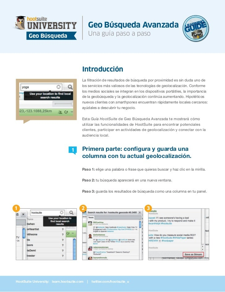 HootSuite Learning Guide - Búsqueda Geolocalizada Avanzada (Español/Spanish)