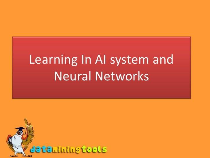 AI: Learning in AI