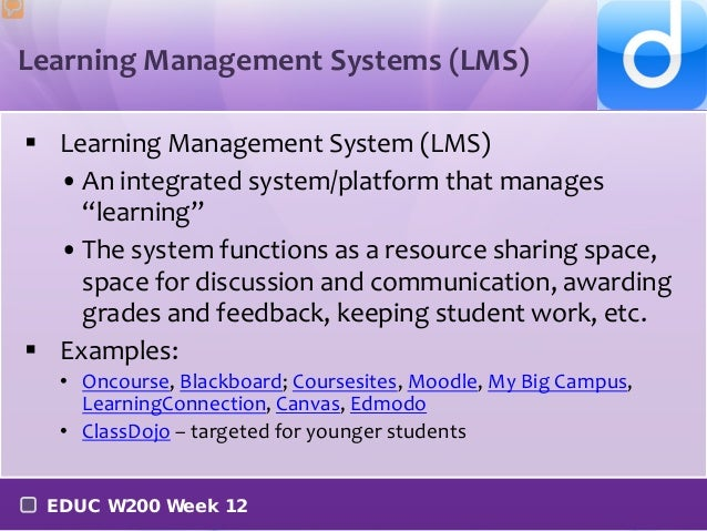 Learning management systems week 12