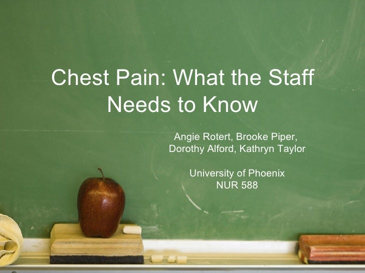 Chest Pain: What the Staff     Needs to Know            Angie Rotert, Brooke Piper,           Dorothy Alford, Kathryn Tayl...