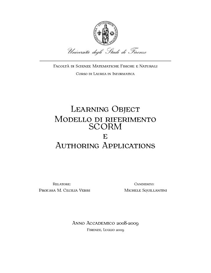 LEARNING OBJECT MODELLO DI RIFERIMENTO SCORM E AUTHORING APPLICATIONS