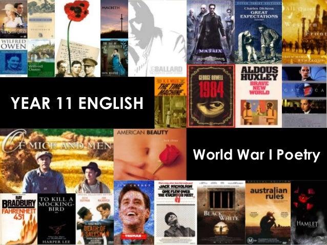 YEAR 11 ENGLISH                  World War I Poetry