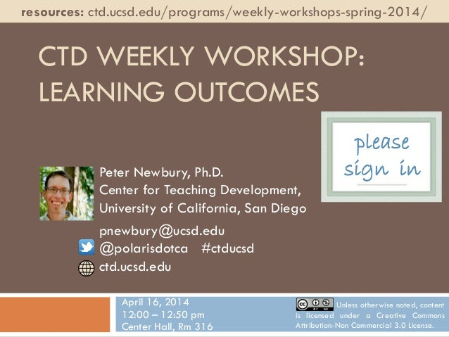 CTD Sp14 Weekly Workshop: Learning Outcomes