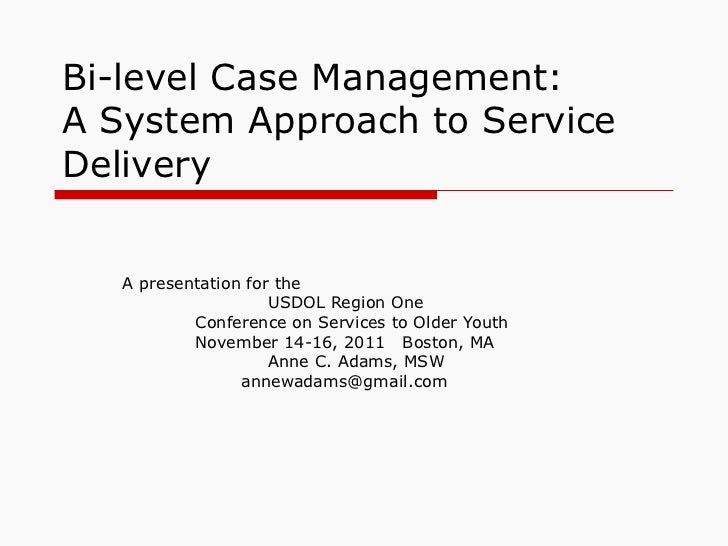 Bi-level Case Management: A System Approach to Service Delivery A presentation for the  USDOL Region One  Conference on Se...