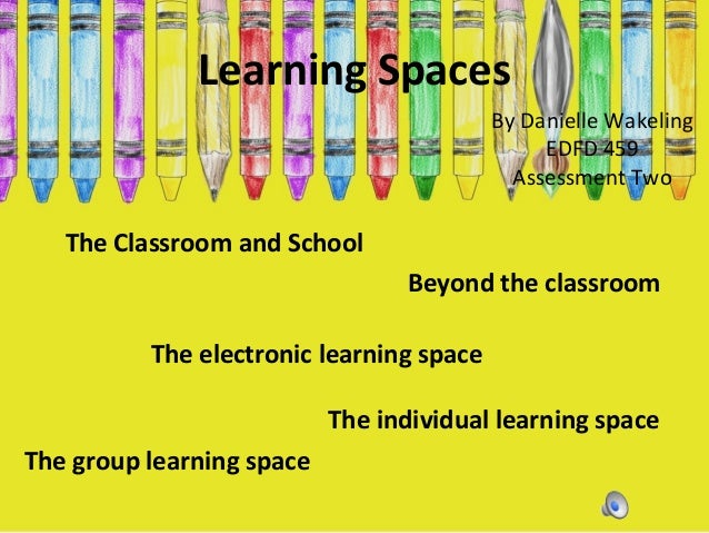 Learning Spaces By Danielle Wakeling EDFD 459 Assessment Two  The Classroom and School Beyond the classroom The electronic...