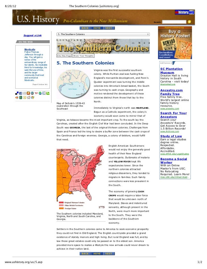 8/20/12                                                              The Southern Colonies [ushistory.org]                ...