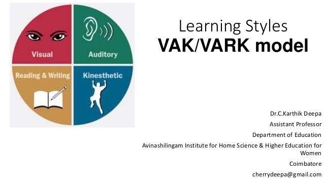 vark model Although structured instruments exist for measuring preferred learning and cognitive styles (for example, the vark model measuring four perceptual preferences: visual (v), aural (a), read/write (r), and kinesthetic (k), also referred to sometimes as the vak model (visual-auditory- kinesthetic model), they were not used in the current study .