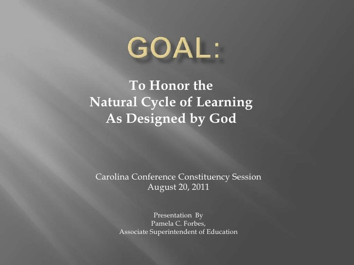 GOAL:<br />To Honor the <br />Natural Cycle of Learning<br />As Designed by God<br />Carolina Conference Constituency Sess...