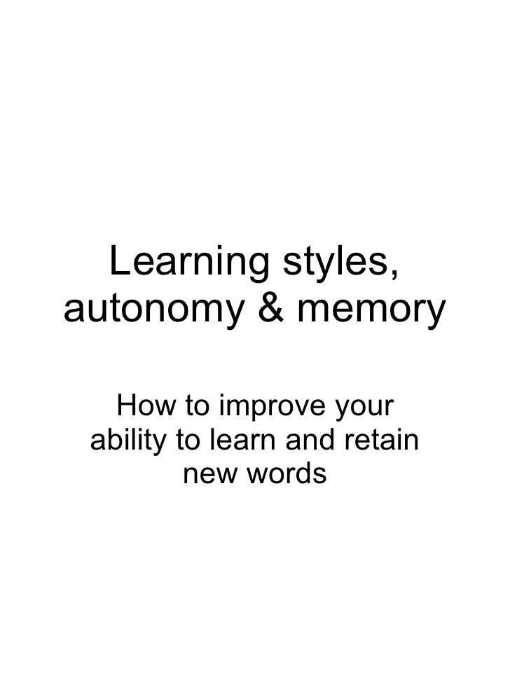 Learning Styles, Autonomy & Memory Booklet For Parents & Pupils