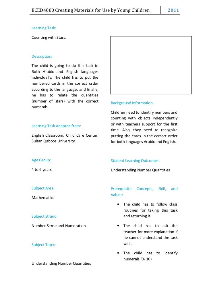 ECED4080 Creating Materials for Use by Young Children                         2011Learning Task:Counting with Stars.Descri...